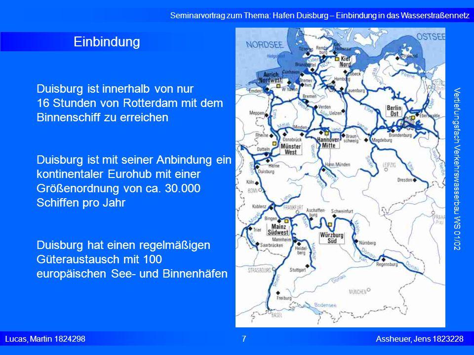 Einbindung Seminarvortrag zum Thema: Hafen Duisburg – Einbindung in das Wasserstraßennetz Lucas, Martin 1824298 7 Assheuer, Jens 1823228 Vertiefungsfa