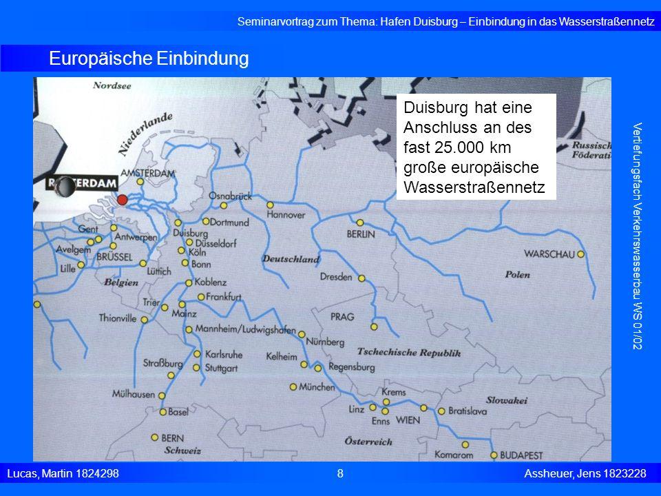 Containerterminal DeCeTe Seminarvortrag zum Thema: Hafen Duisburg – Einbindung in das Wasserstraßennetz Lucas, Martin 1824298 19 Assheuer, Jens 1823228 Vertiefungsfach Verkehrswasserbau WS 01/02 - DeCeTe Duisburger Container-Terminalgesellschaft in Kooperation mit ECT - größter CT im Duisburger Hafen - Jahresumschlag (1999) 170.000 TEU/Jahr