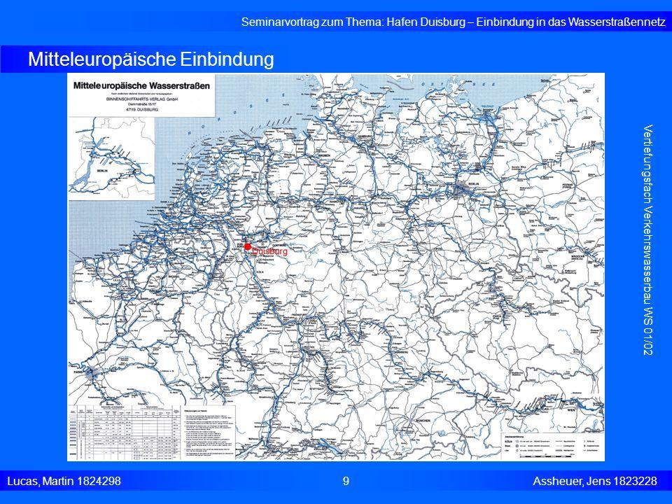 Mitteleuropäische Einbindung Seminarvortrag zum Thema: Hafen Duisburg – Einbindung in das Wasserstraßennetz Lucas, Martin 1824298 9 Assheuer, Jens 182