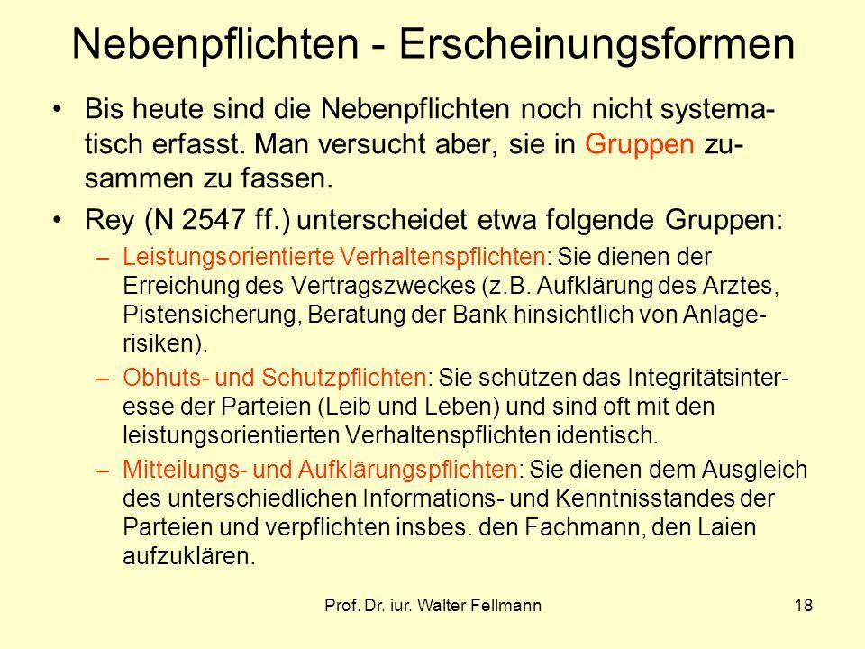 Prof. Dr. iur. Walter Fellmann18 Nebenpflichten - Erscheinungsformen Bis heute sind die Nebenpflichten noch nicht systema- tisch erfasst. Man versucht