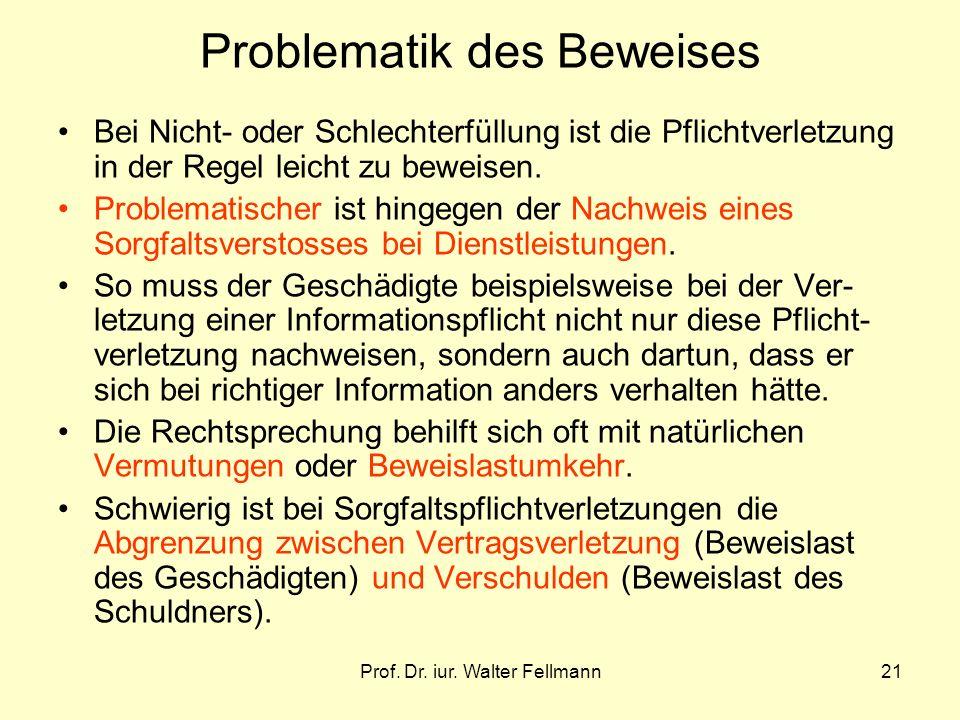 Prof. Dr. iur. Walter Fellmann21 Problematik des Beweises Bei Nicht- oder Schlechterfüllung ist die Pflichtverletzung in der Regel leicht zu beweisen.