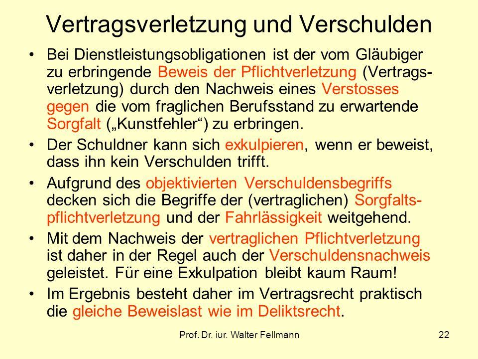 Prof. Dr. iur. Walter Fellmann22 Vertragsverletzung und Verschulden Bei Dienstleistungsobligationen ist der vom Gläubiger zu erbringende Beweis der Pf