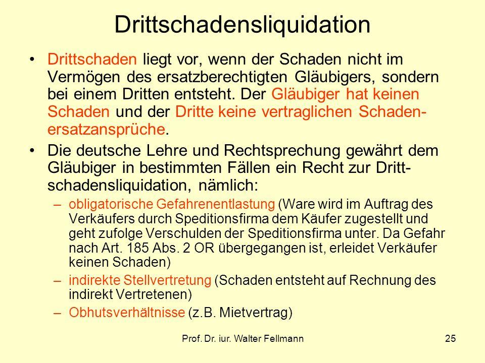 Prof. Dr. iur. Walter Fellmann25 Drittschadensliquidation Drittschaden liegt vor, wenn der Schaden nicht im Vermögen des ersatzberechtigten Gläubigers