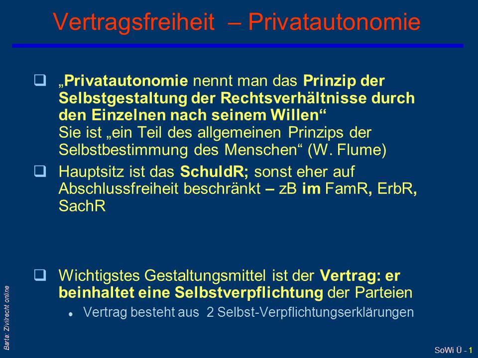 SoWi Ü - 1 Barta: Zivilrecht online Vertragsfreiheit – Privatautonomie qPrivatautonomie nennt man das Prinzip der Selbstgestaltung der Rechtsverhältnisse durch den Einzelnen nach seinem Willen Sie ist ein Teil des allgemeinen Prinzips der Selbstbestimmung des Menschen (W.