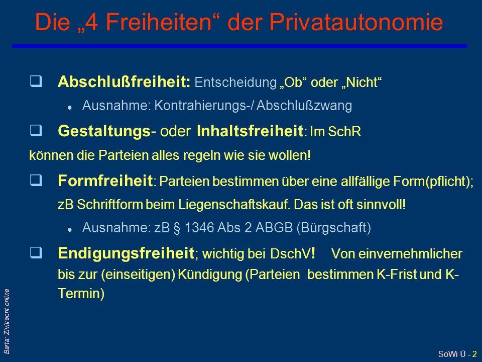 SoWi Ü - 2 Barta: Zivilrecht online Die 4 Freiheiten der Privatautonomie qAbschlußfreiheit: Entscheidung Ob oder Nicht l Ausnahme: Kontrahierungs-/ Abschlußzwang qGestaltungs- oder Inhaltsfreiheit : Im SchR können die Parteien alles regeln wie sie wollen.