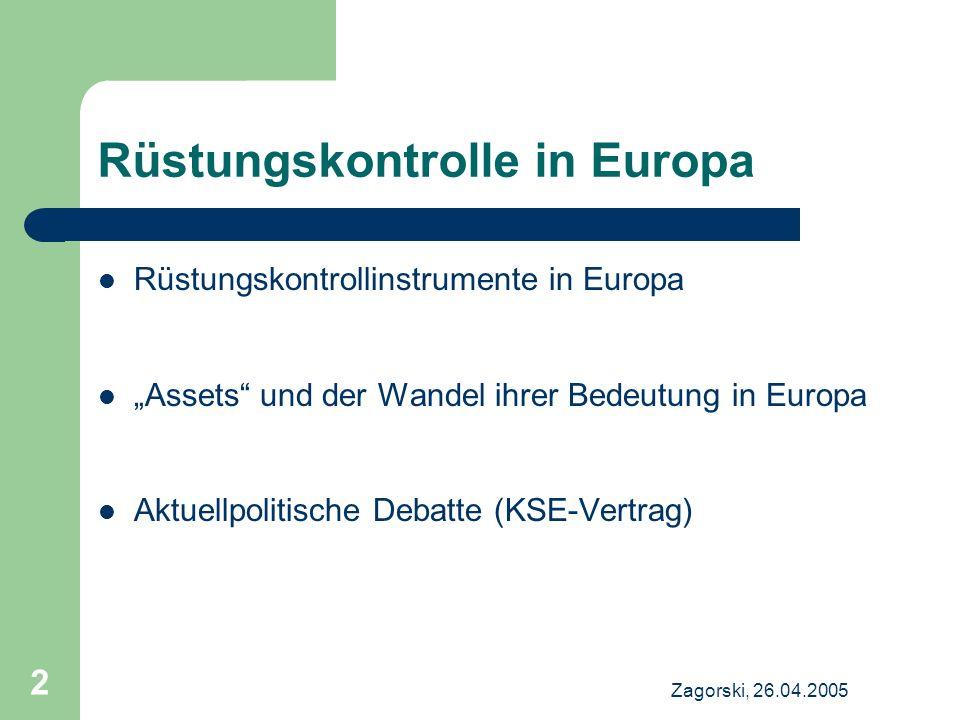 Zagorski, 26.04.2005 2 Rüstungskontrolle in Europa Rüstungskontrollinstrumente in Europa Assets und der Wandel ihrer Bedeutung in Europa Aktuellpoliti