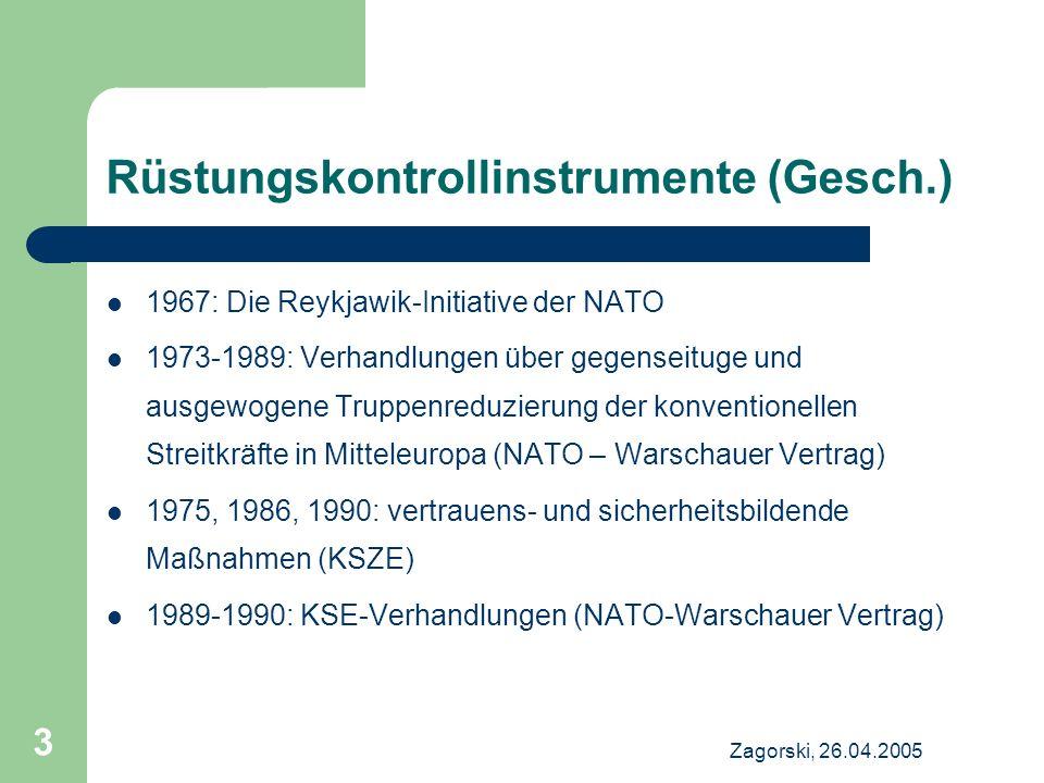 Zagorski, 26.04.2005 3 Rüstungskontrollinstrumente (Gesch.) 1967: Die Reykjawik-Initiative der NATO 1973-1989: Verhandlungen über gegenseituge und aus
