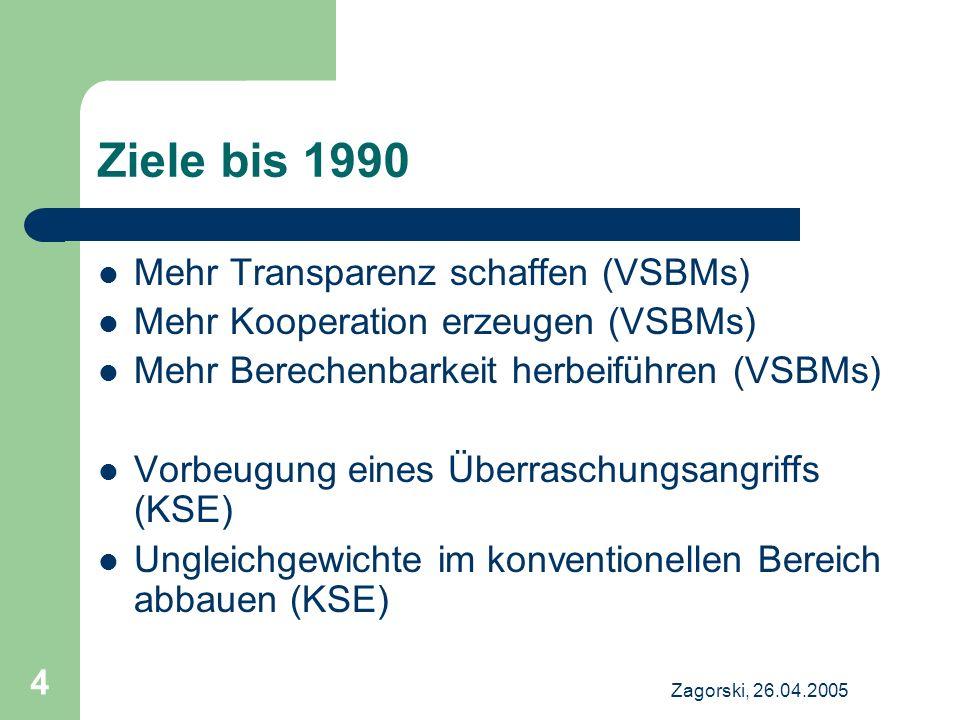 Zagorski, 26.04.2005 4 Ziele bis 1990 Mehr Transparenz schaffen (VSBMs) Mehr Kooperation erzeugen (VSBMs) Mehr Berechenbarkeit herbeiführen (VSBMs) Vo