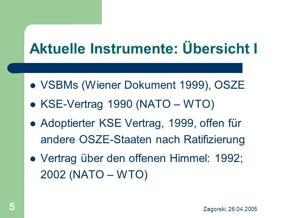 Zagorski, 26.04.2005 5 Aktuelle Instrumente: Übersicht I VSBMs (Wiener Dokument 1999), OSZE KSE-Vertrag 1990 (NATO – WTO) Adoptierter KSE Vertrag, 199