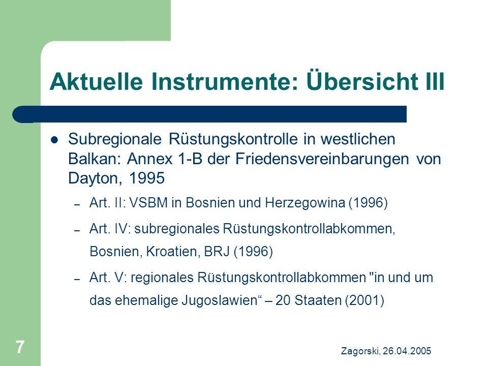 Zagorski, 26.04.2005 7 Aktuelle Instrumente: Übersicht III Subregionale Rüstungskontrolle in westlichen Balkan: Annex 1-B der Friedensvereinbarungen v