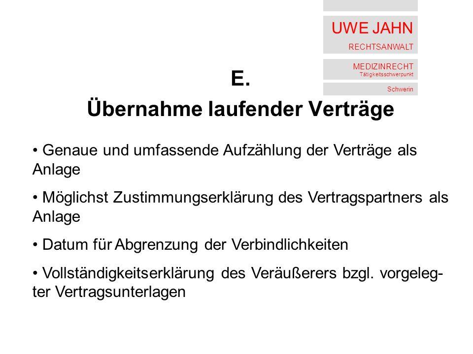 UWE JAHN RECHTSANWALT MEDIZINRECHT Tätigkeitsschwerpunkt Schwerin E.