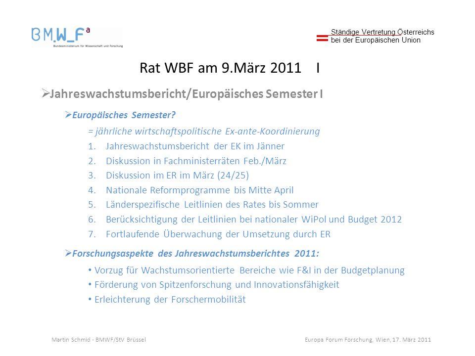 Rat WBF am 9.März 2011 I Jahreswachstumsbericht/Europäisches Semester I Europäisches Semester.
