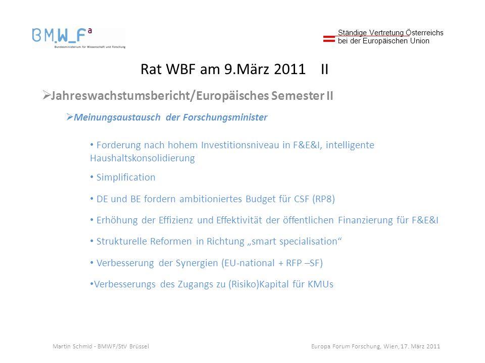 Rat WBF am 9.März 2011 II Jahreswachstumsbericht/Europäisches Semester II Meinungsaustausch der Forschungsminister Forderung nach hohem Investitionsniveau in F&E&I, intelligente Haushaltskonsolidierung Simplification DE und BE fordern ambitioniertes Budget für CSF (RP8) Erhöhung der Effizienz und Effektivität der öffentlichen Finanzierung für F&E&I Strukturelle Reformen in Richtung smart specialisation Verbesserung der Synergien (EU-national + RFP –SF) Verbesserungs des Zugangs zu (Risiko)Kapital für KMUs Ständige Vertretung Österreichs bei der Europäischen Union Martin Schmid - BMWF/StV Brüssel Europa Forum Forschung, Wien, 17.