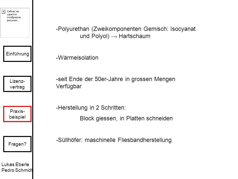 Lukas Eberle Pedro Schmidt Einführung Lizenz- vertrag Praxis- beispiel Fragen? -Polyurethan (Zweikomponenten Gemisch: Isocyanat und Polyol) Hartschaum