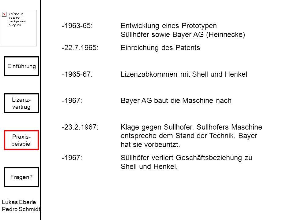 Lukas Eberle Pedro Schmidt Einführung Lizenz- vertrag Praxis- beispiel Fragen? -1963-65: Entwicklung eines Prototypen Süllhöfer sowie Bayer AG (Heinne
