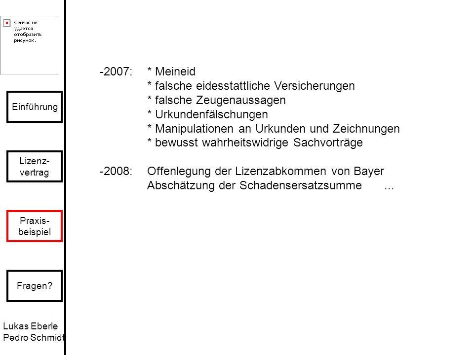 Lukas Eberle Pedro Schmidt Einführung Lizenz- vertrag Praxis- beispiel Fragen? -2007: * Meineid * falsche eidesstattliche Versicherungen * falsche Zeu