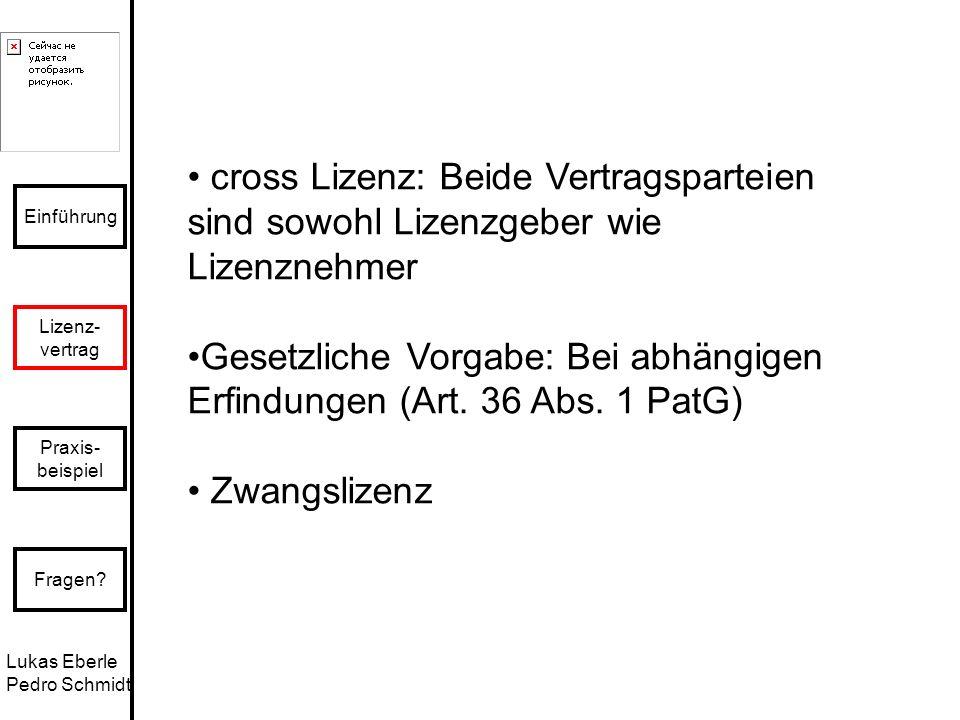 Lukas Eberle Pedro Schmidt Einführung Lizenz- vertrag Praxis- beispiel Fragen? cross Lizenz: Beide Vertragsparteien sind sowohl Lizenzgeber wie Lizenz