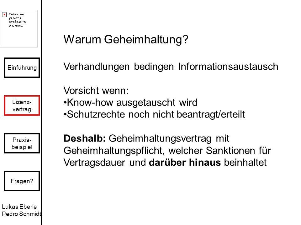 Lukas Eberle Pedro Schmidt Einführung Lizenz- vertrag Praxis- beispiel Fragen? Warum Geheimhaltung? Verhandlungen bedingen Informationsaustausch Vorsi