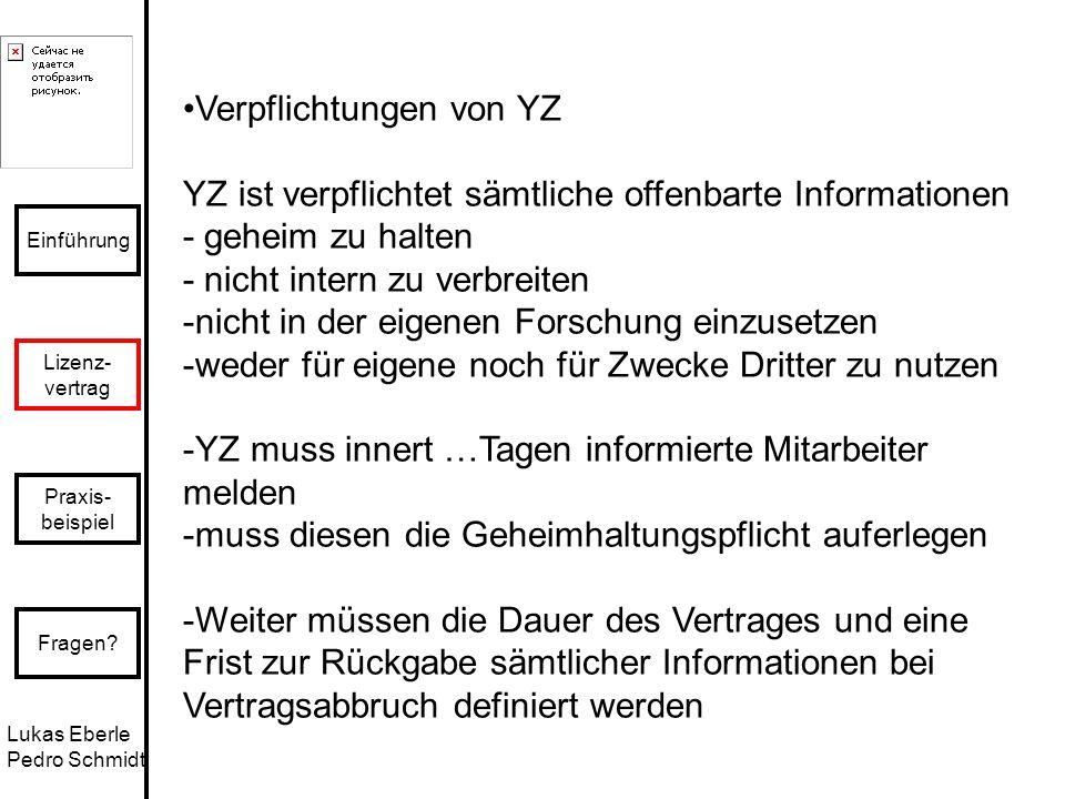 Lukas Eberle Pedro Schmidt Einführung Lizenz- vertrag Praxis- beispiel Fragen? Verpflichtungen von YZ YZ ist verpflichtet sämtliche offenbarte Informa