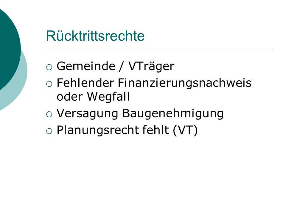 Rücktrittsrechte Gemeinde / VTräger Fehlender Finanzierungsnachweis oder Wegfall Versagung Baugenehmigung Planungsrecht fehlt (VT)