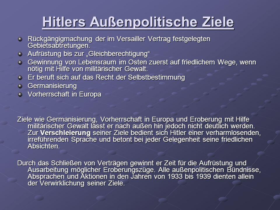 Hitlers Außenpolitische Ziele Rückgängigmachung der im Versailler Vertrag festgelegten Gebietsabtretungen.