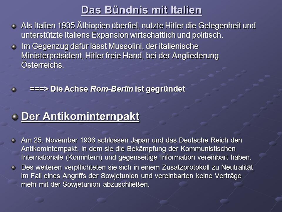 Das Bündnis mit Italien Als Italien 1935 Äthiopien überfiel, nutzte Hitler die Gelegenheit und unterstützte Italiens Expansion wirtschaftlich und politisch.