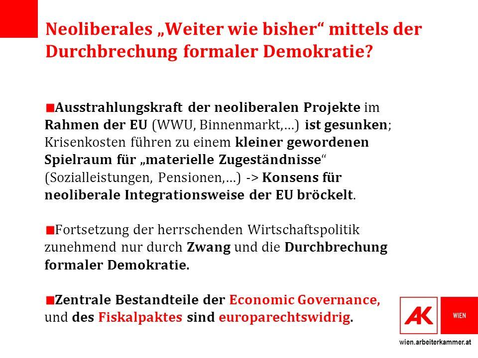 wien.arbeiterkammer.at Die materielle Substanz des Fiskalpakts Vertragsparteien verpflichten sich zur Einführung einer Europäischen Schuldenbremse, welch ein auf ein Nulldefizit vorsieht (Art.
