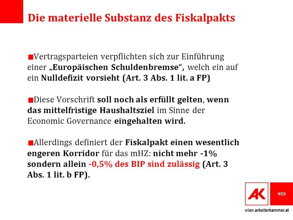wien.arbeiterkammer.at Automatischer Austeritätsmechanismus Bei Nichteinhaltung der europäischen Schuldenbremse, wird automatisch (ohne Beteiligung der Parlamente) ein Korrekturmechanismus ausgelöst.