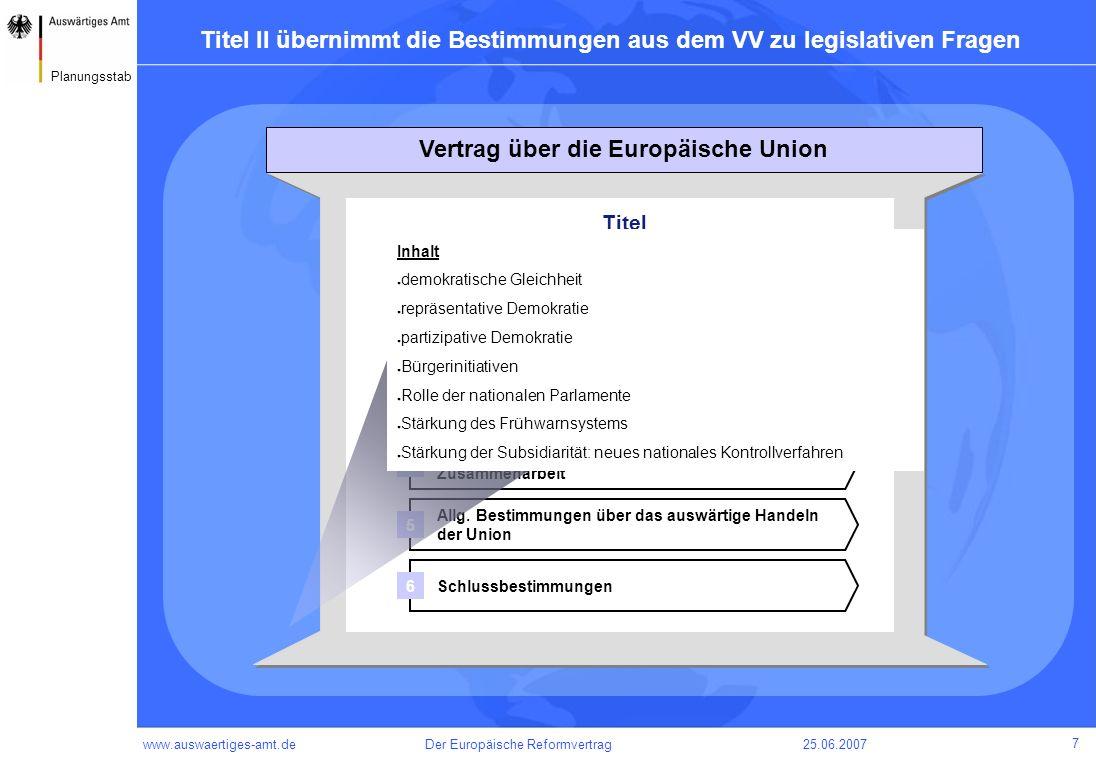 www.auswaertiges-amt.de25.06.2007Der Europäische Reformvertrag 8 Planungsstab Titel III übernimmt die Bestimmungen aus dem VV zu institutionellen Fragen Titel Gemeinsame Bestimmungen Bestimmungen über eine verstärkte Zusammenarbeit Allg.