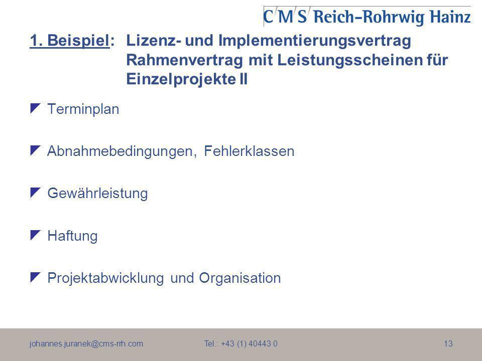 johannes.juranek@cms-rrh.com Tel.: +43 (1) 40443 013 1. Beispiel:Lizenz- und Implementierungsvertrag Rahmenvertrag mit Leistungsscheinen für Einzelpro
