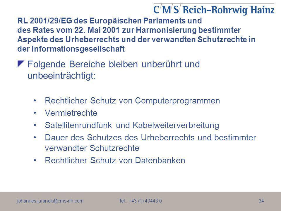 johannes.juranek@cms-rrh.com Tel.: +43 (1) 40443 034 RL 2001/29/EG des Europäischen Parlaments und des Rates vom 22. Mai 2001 zur Harmonisierung besti