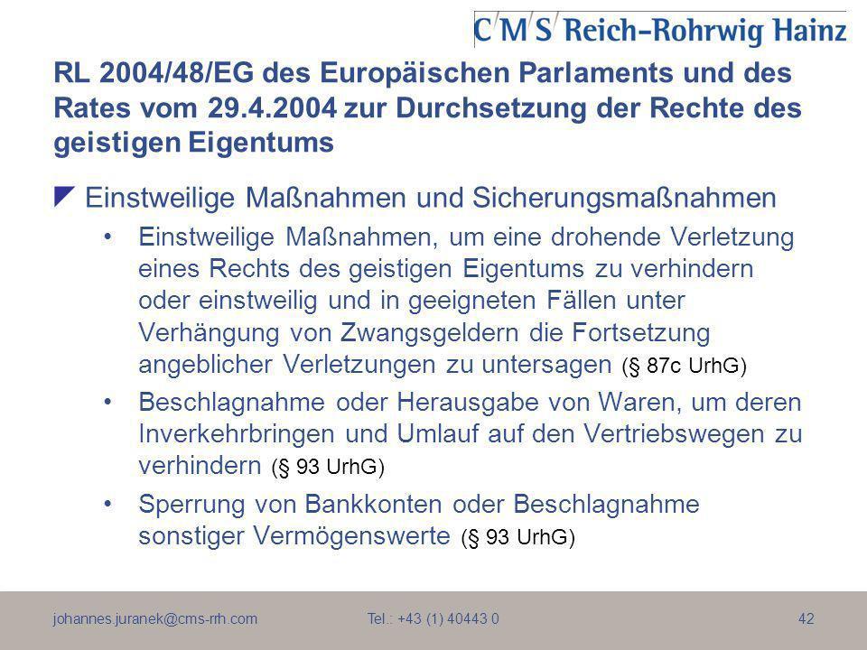 johannes.juranek@cms-rrh.com Tel.: +43 (1) 40443 042 RL 2004/48/EG des Europäischen Parlaments und des Rates vom 29.4.2004 zur Durchsetzung der Rechte