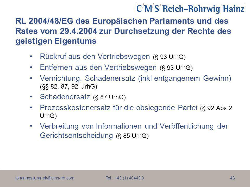 johannes.juranek@cms-rrh.com Tel.: +43 (1) 40443 043 RL 2004/48/EG des Europäischen Parlaments und des Rates vom 29.4.2004 zur Durchsetzung der Rechte