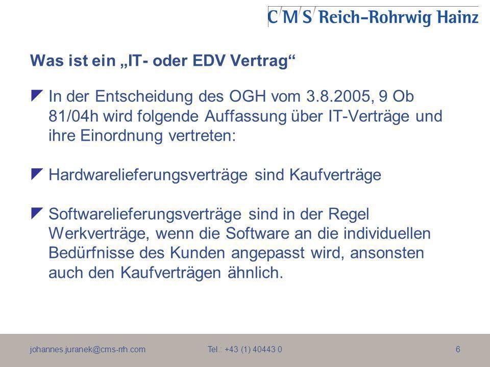 johannes.juranek@cms-rrh.com Tel.: +43 (1) 40443 07 Was ist ein IT- oder EDV Vertrag Wird Software und Hardware gleichzeitig als maßgefertigtes Gesamtpaket geliefert, so liegt bei einem Geschäft unter Kaufleuten ein Werklieferungsvertrag vor, was insbesondere die Rügeobliegenheit des Abnehmers zur Folge hat.