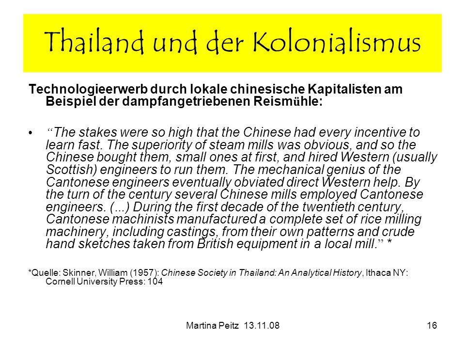 Martina Peitz 13.11.0816 Technologieerwerb durch lokale chinesische Kapitalisten am Beispiel der dampfangetriebenen Reism ü hle: The stakes were so hi