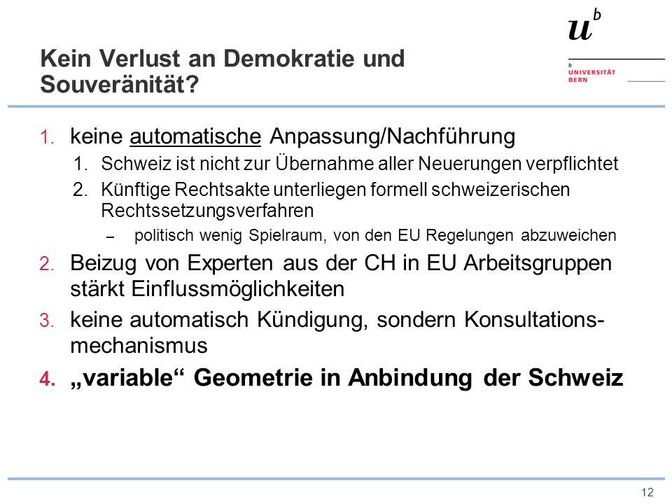 12 Kein Verlust an Demokratie und Souveränität? 1. keine automatische Anpassung/Nachführung 1.Schweiz ist nicht zur Übernahme aller Neuerungen verpfli