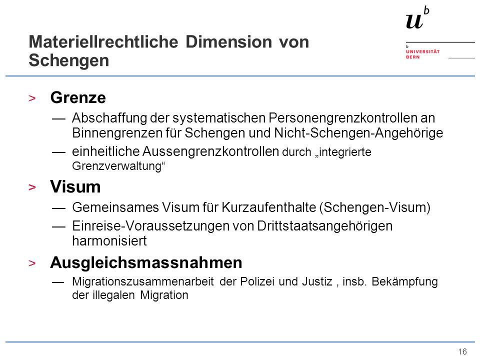 16 Materiellrechtliche Dimension von Schengen Grenze Abschaffung der systematischen Personengrenzkontrollen an Binnengrenzen für Schengen und Nicht-Sc