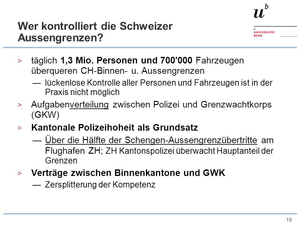 19 Wer kontrolliert die Schweizer Aussengrenzen? täglich 1,3 Mio. Personen und 700'000 Fahrzeugen überqueren CH-Binnen- u. Aussengrenzen lückenlose Ko
