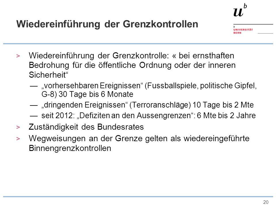 21 Abgrenzung Waren-Personenverkehr Kompetenzen Warenkontrollen durch EU und Schweizer Zollbehörden, weil Schweiz keine Zollunion mit EU Art.