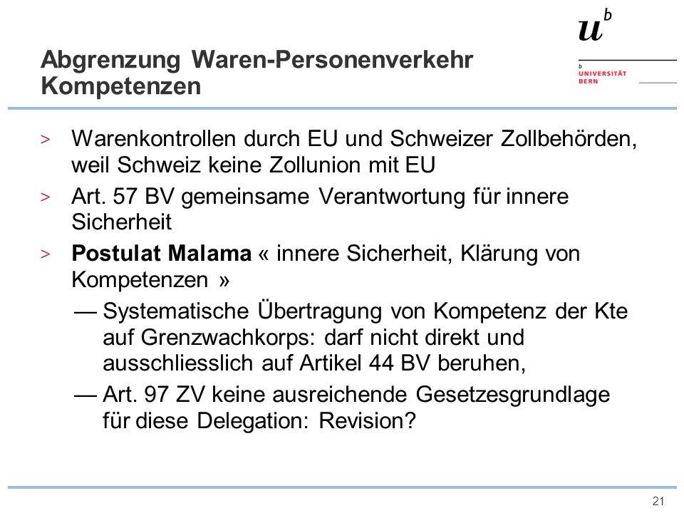 21 Abgrenzung Waren-Personenverkehr Kompetenzen Warenkontrollen durch EU und Schweizer Zollbehörden, weil Schweiz keine Zollunion mit EU Art. 57 BV ge