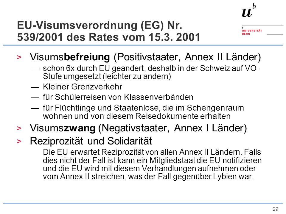 29 EU-Visumsverordnung (EG) Nr. 539/2001 des Rates vom 15.3. 2001 Visumsbefreiung (Positivstaater, Annex II Länder) schon 6x durch EU geändert, deshal