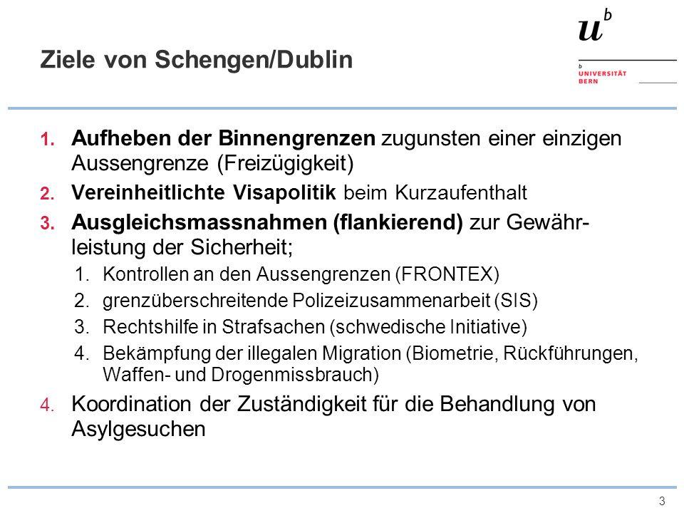 3 Ziele von Schengen/Dublin 1. Aufheben der Binnengrenzen zugunsten einer einzigen Aussengrenze (Freizügigkeit) 2. Vereinheitlichte Visapolitik beim K