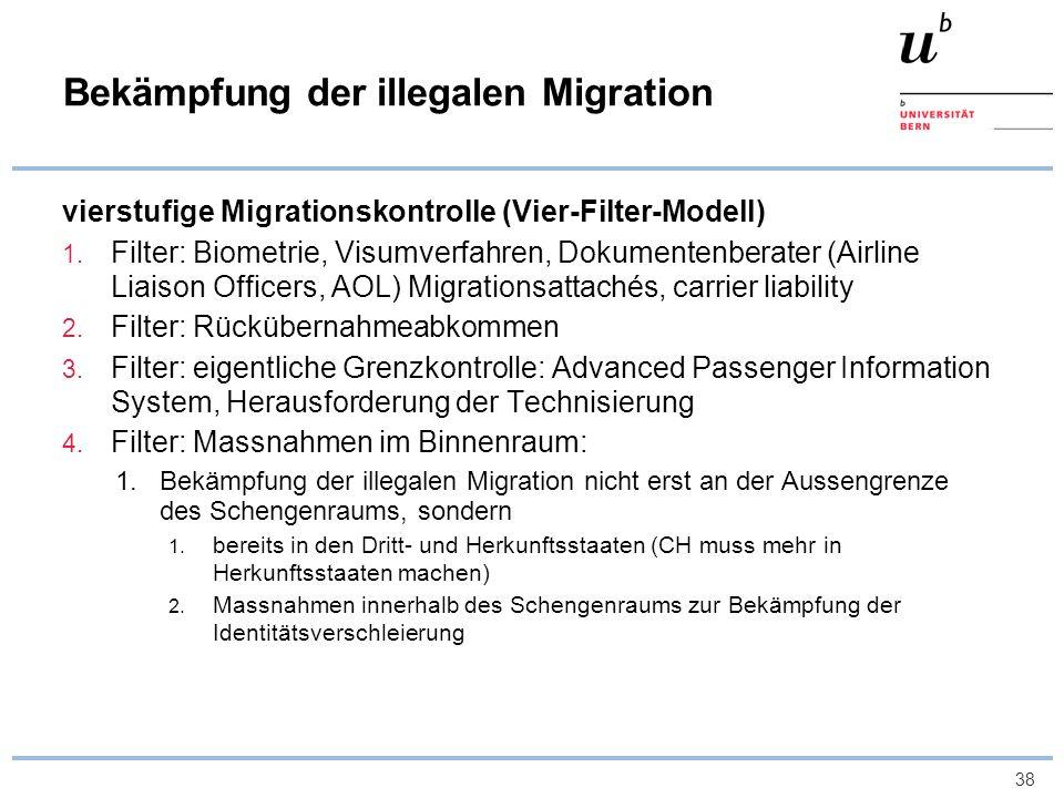 38 Bekämpfung der illegalen Migration vierstufige Migrationskontrolle (Vier-Filter-Modell) 1. Filter: Biometrie, Visumverfahren, Dokumentenberater (Ai