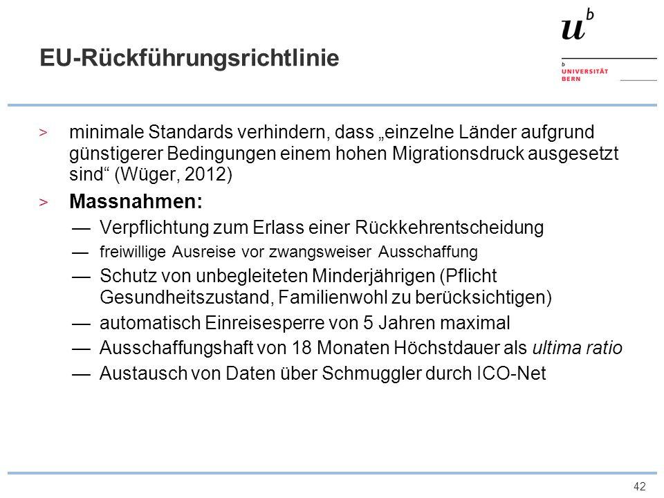 43 EU Rückführungsrichtlinie und die Schweiz Ausschaffungshaftdauer von 24 auf 18 Monate verringert strafrechtliche Sanktionen (Ausschaffungshaft) nur als ultima ratio formlose Wegweisung an der Grenze, ersetzt durch schriftliche Verfügung mitsamt Rechtsmittelbelehrung, die aber keine aufschiebende Wirkung hat (formelle Wegweisung) Pflicht des Erlasses eines Einreiseverbotes, statt Ermessen Kostensenkung: Beteiligung an 8 Sonderflügen; Rückführung von 61 Personen nach Lagos, Monrovia, Lahore, Kostensenkung bei eigenen Flügen
