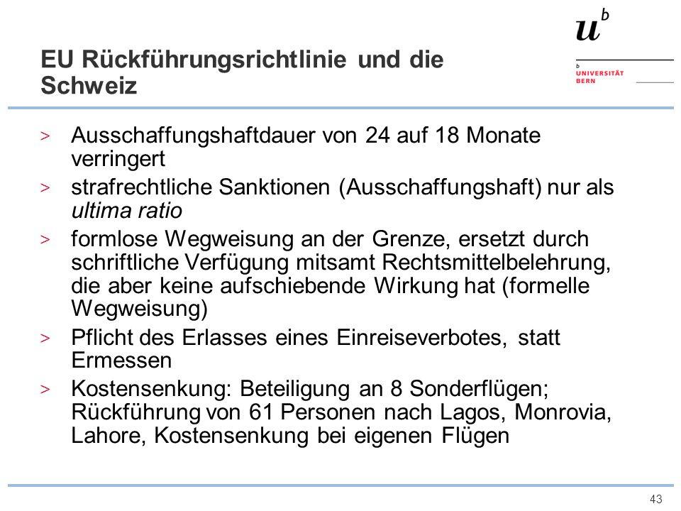 43 EU Rückführungsrichtlinie und die Schweiz Ausschaffungshaftdauer von 24 auf 18 Monate verringert strafrechtliche Sanktionen (Ausschaffungshaft) nur