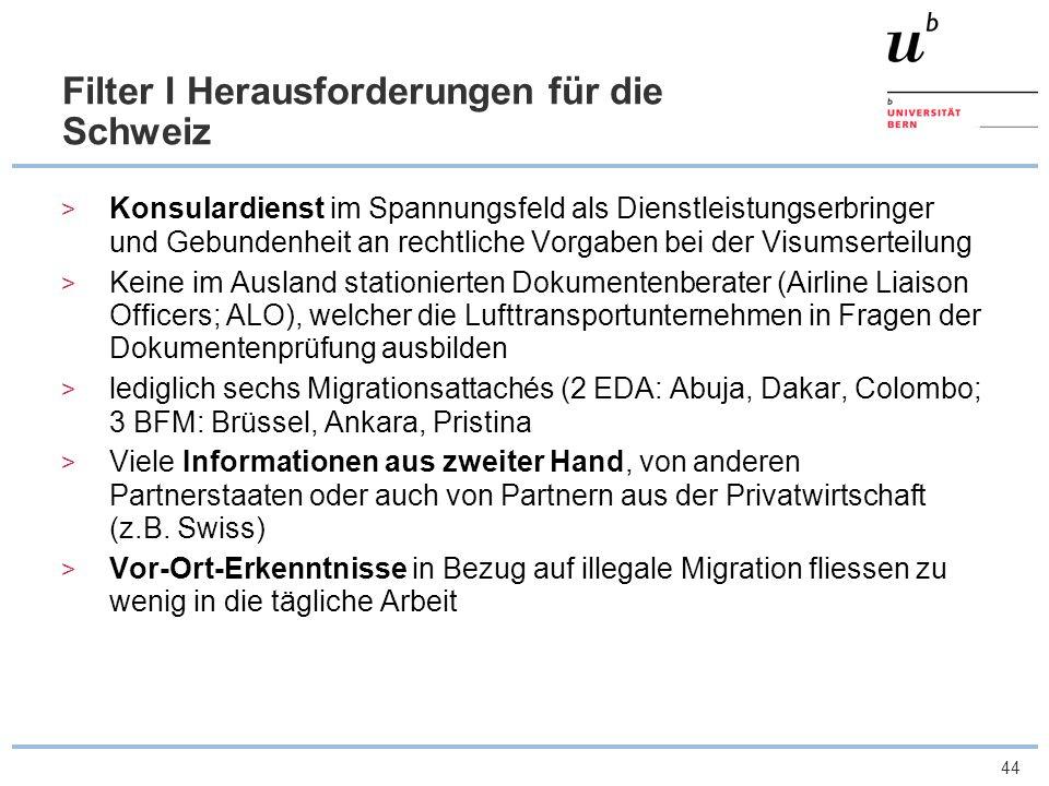 45 Filter 2 Herausforderungen für die Schweiz Begrenzte institutionelle Einbindung der Schweiz in die EU Keine Vorverlagerungsstrategie zur Bekämpfung der illegalen Migration Unzureichende Kooperation und Informations- austausch auf politisch-strategischer Ebene Schweiz steht abseits der Europäische Sicherheitsarchitektur (Bsp.