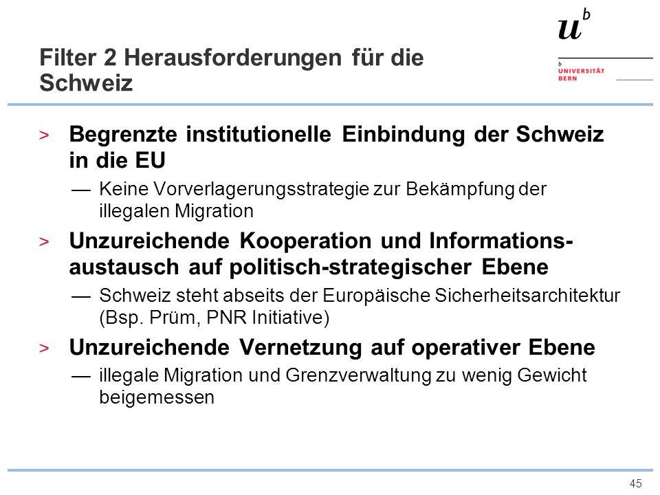 46 Filter 3 Herausforderungen für die Schweiz Unterschiedliche Standards in Teilbereichen der Grenzkontrolle drei grossen Schengenaussengrenzen (Flughäfen Zürich, Genf und Basel) drei verschiedene Behörden zuständig sind Qualitätsunterschiede, sowie in Auslegung des Ermessensspielraums bei der Grenzkontrolle Zunehmende Technisierung der Grenzkontrolle Spannungsfeld zwischen grenzpolizeilichen und wirtschaftlichen Interessen ungelöste politische Widersprüche: illegal anwesende und arbeitende Migranten legal (und gewollt) Beiträge an die Sozialversicherungen leisten