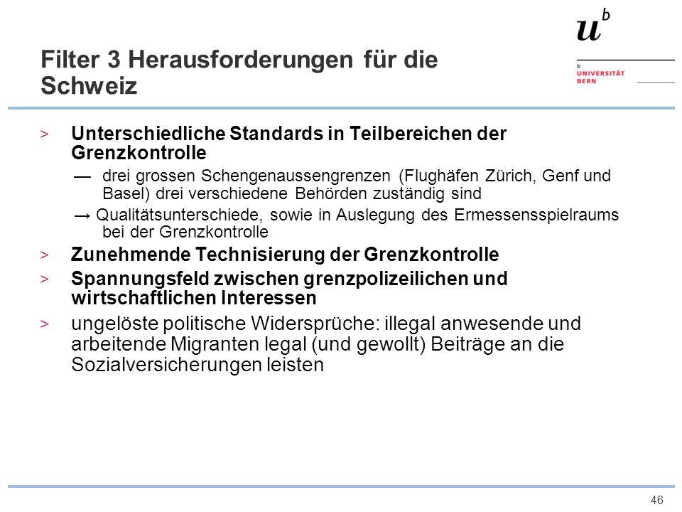 46 Filter 3 Herausforderungen für die Schweiz Unterschiedliche Standards in Teilbereichen der Grenzkontrolle drei grossen Schengenaussengrenzen (Flugh