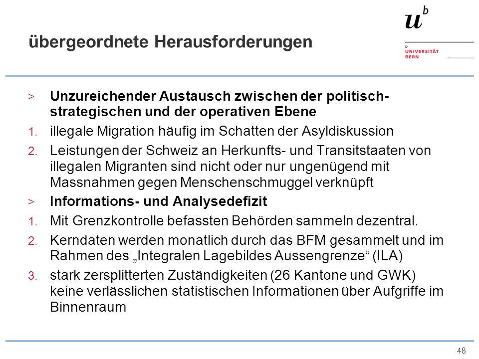 48 übergeordnete Herausforderungen Unzureichender Austausch zwischen der politisch- strategischen und der operativen Ebene 1. illegale Migration häufi