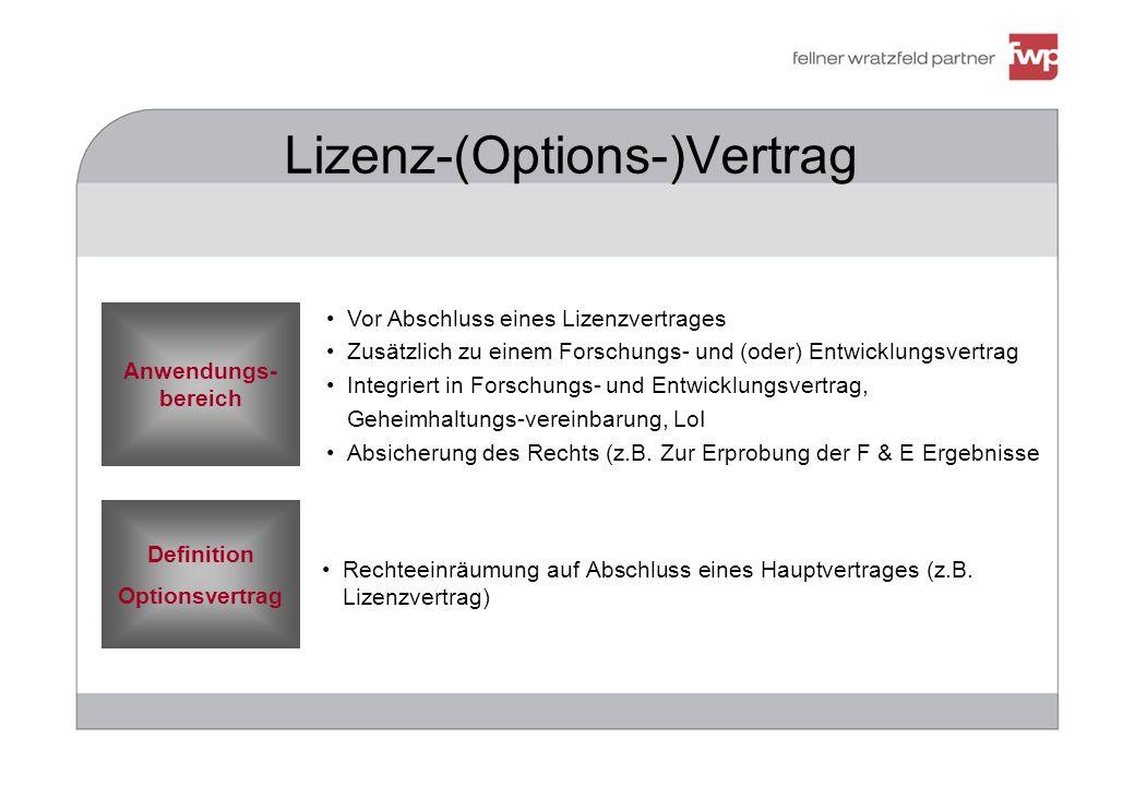 383971 Lizenz-(Options-)Vertrag Definition Optionsvertrag Anwendungs- bereich Rechteeinräumung auf Abschluss eines Hauptvertrages (z.B. Lizenzvertrag)